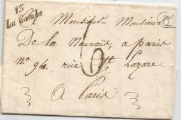 "_ CALVADOS - 13/LA CAMBE Cursive Noire - Boite Rurale ""B"" Bleu - 1847 - Taxée - RARE - 1801-1848: Vorläufer XIX"