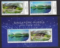 SINGAPORE, 2018, MNH, JOINT ISSUE WITH RUSSIA, STADIUMS, 2v+SHEETLET - Joint Issues