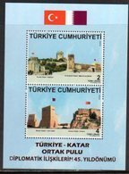 TURKEY , 2018, MNH, JOINT ISSUE WITH QATAR, FLAGS, FORTS, DIPLOMATIC RELATIONS, S/SHEET - Joint Issues