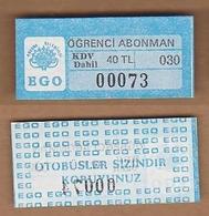 AC - BUS TICKET FOR STUDENT ANKARA, TURKEY - Titres De Transport