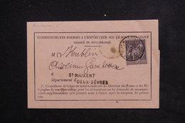 FRANCE - Formulaire De Renseignement D' Un Objet De Saint Maixent En 1884 , Affranchissement Sage - L 22928 - Marcophilie (Lettres)