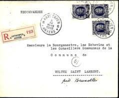 Belgique. TP 204 A (x 3)  L. Rec. Antwerpen 6 > Woluwe-Saint-Lambert  1928  Trous D'épingle - 1922-1927 Houyoux