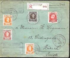 Belgique. TP 190 (x 2), 192, 196 + 212   L. Rec. Borgerhout > Zürich 1922 - 1922-1927 Houyoux