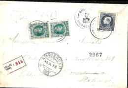 Belgique. TP 194 (x 2) + 211   Imprimé . Rec. Bruxelles 1 > Amsterdam 1923  Tarif Préférentiel P.B. - 1922-1927 Houyoux