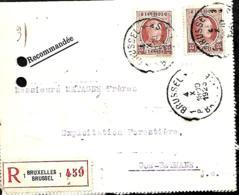 Belgique. TP 201 (x 2) Carte- L. Rec. Bruxelles 1 > Goé-Béthane 1923  Trous D'archive - 1922-1927 Houyoux