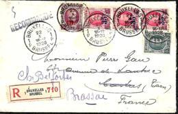 Belgique. TP 193, 204 (x 4 Dont 2 Avec Dents De Couleur) 246 + 247 (x 3) L. Rec. Bxl. 1 > Castres (Tarn) > Brassac 1928 - 1922-1927 Houyoux