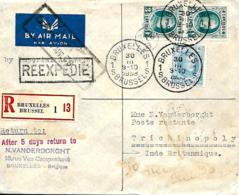 Belgique. TP 207c, 208 (x 2) + 466   Imprimé Rec. Bruxelles 1 > Trichinopoly   Poste Restante Retour Bruxelles  1928 - 1922-1927 Houyoux