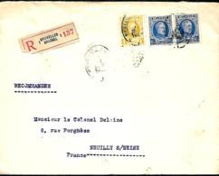 Belgique. TP 205 + 257 (x 2)   L. Rec. Bruxelles 1 > Neuilly-sur-Seine  1929 - 1922-1927 Houyoux