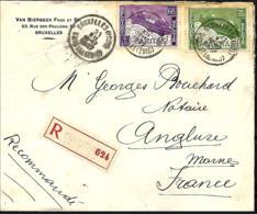 Belgique. TP  213 (x 3), 245 (x 10), 250 + 251   L. Rec. Bruxelles Midi > Anglure (France)  1927 - 1922-1927 Houyoux
