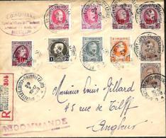 Belgique. TP  136 (x 2), 190, 193, 214 + 246 (x 3)  L. Rec. Bruxelles Midi > Angleur  1928 Vignette Au Dos - 1922-1927 Houyoux