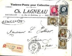 Belgique. TP  191 (x 3), 215, 245 (x 3) + 247  L. Rec. Bruxelles Midi > Spa  1928 - 1922-1927 Houyoux