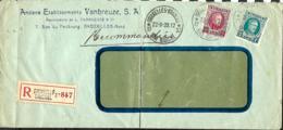 Belgique. TP 208 + 246  L. Rec. Agence  Bruxelles 37 Bon Marché (Indice E) > ?  1928   Pli - 1922-1927 Houyoux
