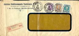 Belgique. TP 203, 208 + 281  L. Rec. Agence  Bruxelles 37 Type A 15 (Indice D) > ?  1929   Pli - 1922-1927 Houyoux