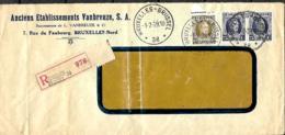 Belgique. TP 204 (x 2) + 255  L. Rec. Agence  Bruxelles 38 Type A 30 (Indice B) > ?  1929   Pli - 1922-1927 Houyoux