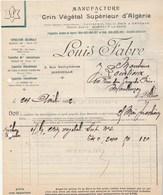 Facture Illustrée 24/4/1922 Louis FABRE Crin Végétal Algérie MARSEILLE - VERSO : Historique De La Maisondépots Cette ... - France