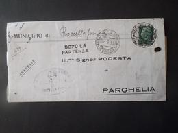 REGNO ITALIA BIGLIETTI CON OVALE DI FRANCHIGIA COMUNALE ROCCELLA JONICA REGIE POSTE 1935 - Franchigia