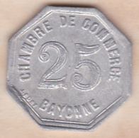 64 . Pyrénées-Atlantiques . Chambre De Commerce De Bayonne . 25 Centimes 1920 - Monétaires / De Nécessité