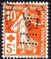 """Y&T N°147 - 10c+5c Semeuse Croix-Rouge - Oblitéré Avec Perforation """"FH"""" - France"""