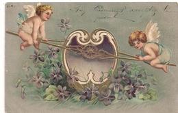 Cpa Fantaisie Gaufrée Deux Anges - Tarjetas De Fantasía