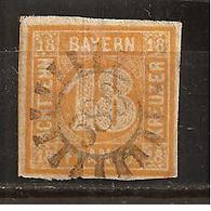 BAVARIA(BAYERN)1850: Michel 7used Cat.Value  250Euros($287) - Bavaria