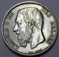LEOPOLD I ROI DES BELGES  1870  5 FRANCS    ARGENT  _ 2 SCANS - 1865-1909: Leopold II
