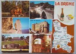 LA DROME - Carte Geographique Mappa Map - Montelimar - Nyons - Combe-Laval - Suze La Rousse - Valence - Vg F2 - Francia