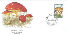 Enveloppe 1er Jour Sierra Leone FDC Slippery Jack Mushroom 1990 - Sierra Leone (1961-...)