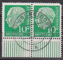Heuss Theodor 10 Pf Unterrandpaar  Aus Bogen BRD 183(2) Gest. Oberstdorf - BRD