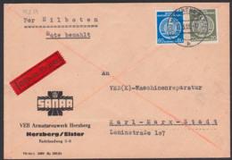 Herzberg / Elster Eilbrief 17.3.58 Dienstpost SANAR Armaturenwerk Portogenau, DDR - Dienstpost