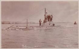 British Navy A-class Submarine '1', C1900s Vintage Real Photo Postcard - Sottomarini