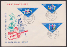 Pioniertreffen Chemnitz Karl-Marx-Stadt Dreieckmarken FDC DDR 1045/7,Tagesst. Lautawerk Laussitz - DDR