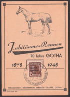 GOTHA 1878 - 1948 Jubiläumsrennen Boxbrgrennen Abb. Pferd Horse Anlasskarte Cheval, SBZ Germany East - [6] Oost-Duitsland