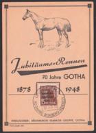 GOTHA 1878 - 1948 Jubiläumsrennen Boxbrgrennen Abb. Pferd Horse Anlasskarte Cheval, SBZ Germany East - [6] Repubblica Democratica