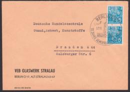 BERLIN N4 17.11.58 SoSt. 10 Jahre Deutsche Demokratische Republik Abb. Rotes Rathaus, Abs. VEB Glaswerk Stralau - [6] Oost-Duitsland