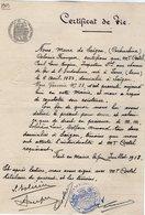 VP14.569 - Mairie De SAIGON 1913 - Certificat De Vie - Mr COSTEL Inspecteur Général Aux Chemins De Fer D'Indochine - Vieux Papiers