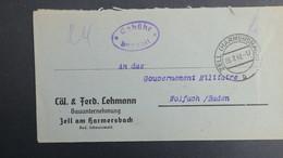 Lettre De Zell  Fevrier 1947 Allemagne Occupation Française Pour Wolfach Gouvernement Militaire En Franchise - French Zone
