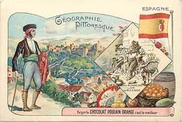 - Chromos -ref-ch887- Chocolat Poulain - Geographie Pittoresque - Espagne - Au Marché De Valence - Marchés - - Poulain