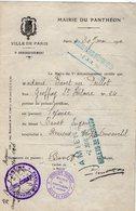 VP14.570 - Guerre 14 / 18 - PARIS 1916 - Certificat - Epouse BAVET Mari Hospitalisé à AMIENS Pavillon Duvauchel - Vieux Papiers