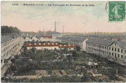 D45 - BRIARE - LA FABRIQUE DE BOUTONS ET LA CITE - Carte Colorisée - Briare