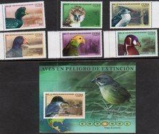 BIRDS, 2018, MNH, ENDANGERED BIRDS, EAGLES, PARROTS, 6v+S/SHEET - Birds