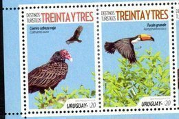 URUGUAY,2018, MNH, TOURIST DESTINATIONS, BIRDS, TOUCANS, 2v - Birds