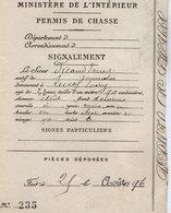 VP14.571 - Ministère De L'Intérieur PARIS 1896 - Permis De Chasse - Mr E. PICAUD - Vieux Papiers