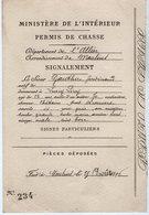 VP14.572 - Ministère De L'Intérieur PARIS X MOULINS 1896 - Permis De Chasse - Mr F. GAUTHIER - Vieux Papiers