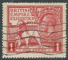 1924 GREAT BRITAIN USED BRITISH EMPIRE EXHIBITION SG 430 1d SCARLET - F22-5 - Usati