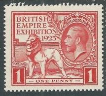 1925 GREAT BRITAIN BRITISH EMPIRE EXHIBITION SG 432 1d SCARLET MH * - F22-7 - 1902-1951 (Re)