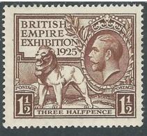 1925 GREAT BRITAIN BRITISH EMPIRE EXHIBITION SG 433 1 1/2d BROWN MH * - F22-7 - 1902-1951 (Re)