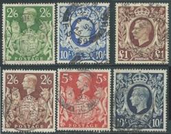 1939-48 GREAT BRITAIN KING GEORG VI USED SG 476/8b SET OF 6 - F23-7 - Usati