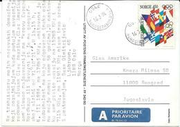 Norway - Postcard And Stamp 1994 Winter Olympic Games - Lillehammer, Norway Via Yugoslavia - Norwegen