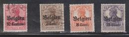 BELGIUM Scott # N3, N11, N13, N15 Used - WWI German Occupation - WW I