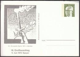 Germany Speyer 1972 / Olympic Games Munich, Olympic Torch / Postal Stationery - Ete 1972: Munich